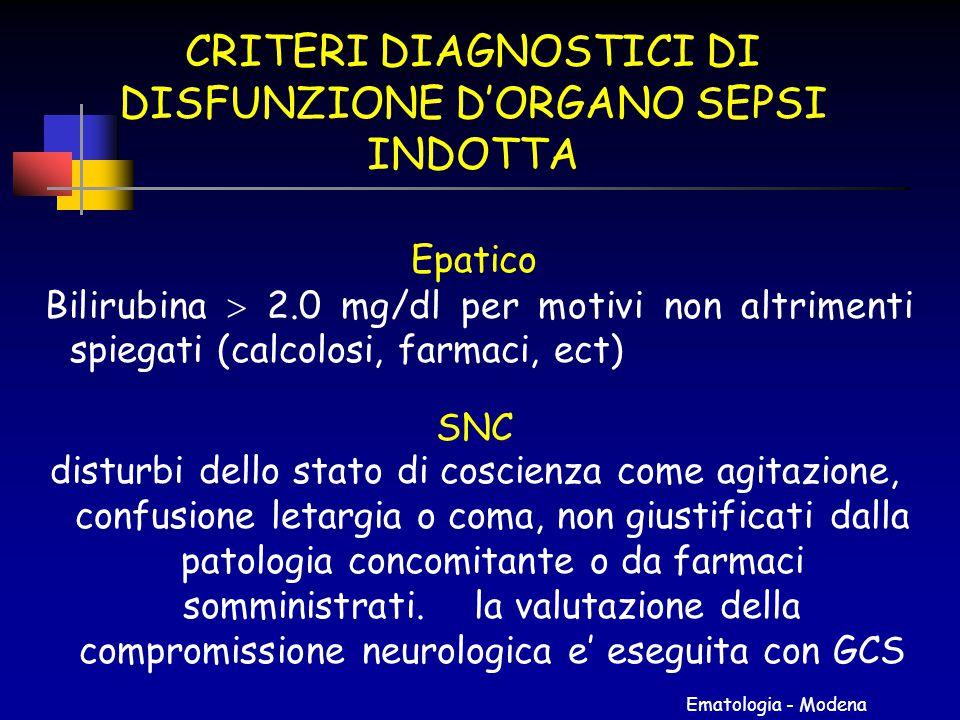Ematologia - Modena CRITERI DIAGNOSTICI DI DISFUNZIONE D'ORGANO SEPSI INDOTTA Epatico Bilirubina  2.0 mg/dl per motivi non altrimenti spiegati (calco