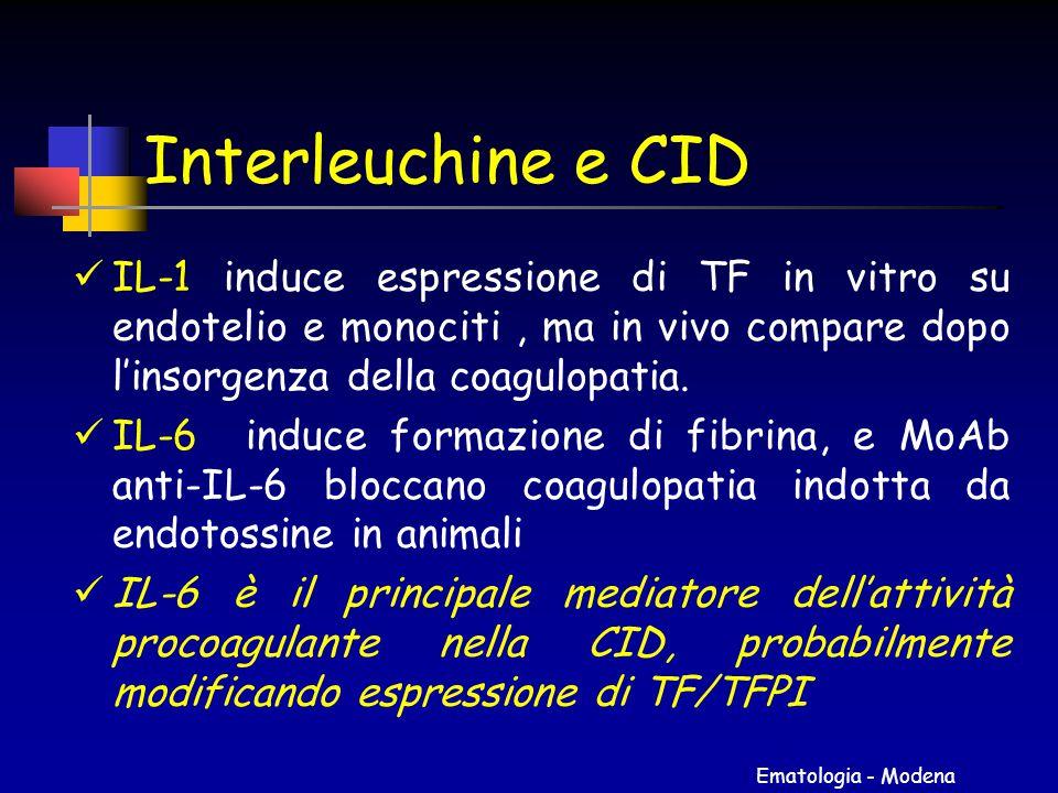 Ematologia - Modena Interleuchine e CID IL-1 induce espressione di TF in vitro su endotelio e monociti, ma in vivo compare dopo l'insorgenza della coa