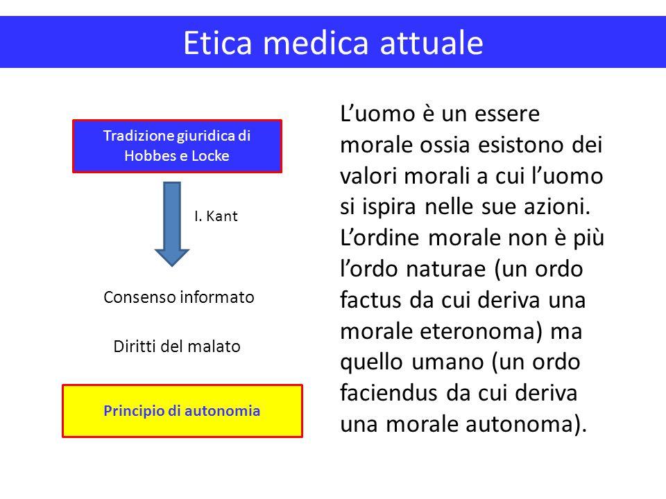 Etica medica attuale Principio di autonomia Tradizione giuridica di Hobbes e Locke Consenso informato Diritti del malato L'uomo è un essere morale oss