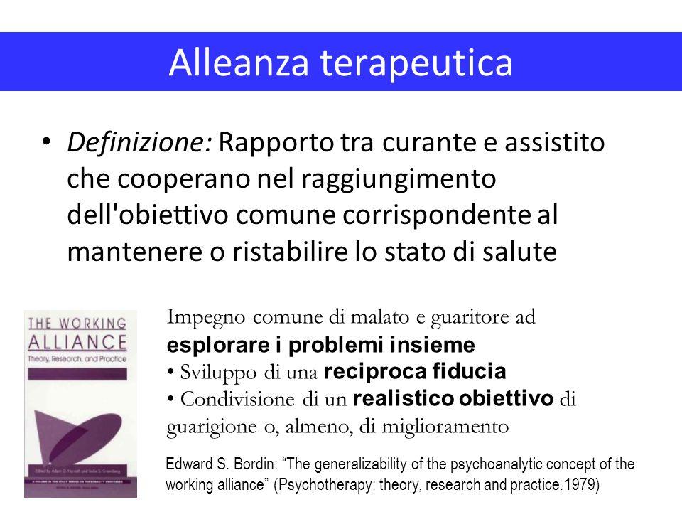 Definizione: Rapporto tra curante e assistito che cooperano nel raggiungimento dell'obiettivo comune corrispondente al mantenere o ristabilire lo stat