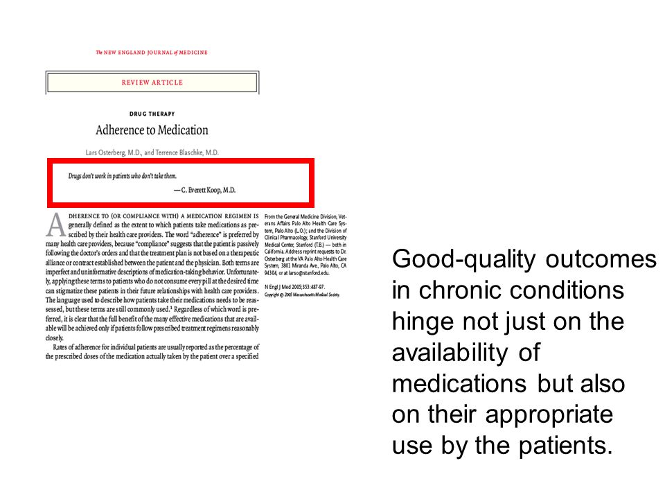 Good-quality outcomes in chronic conditions hinge not just on the availability of medications but also on their appropriate use by the patients.