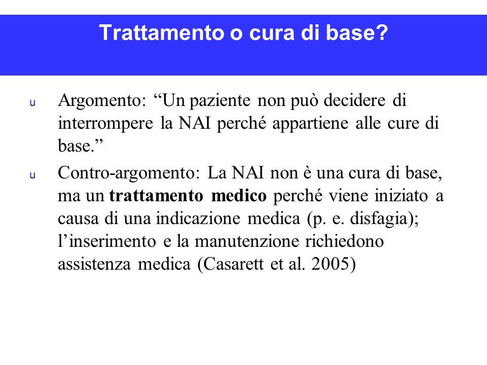 """Trattamento o cura di base? u Argomento: """"Un paziente non può decidere di interrompere la NAI perché appartiene alle cure di base."""" u Contro-argomento"""