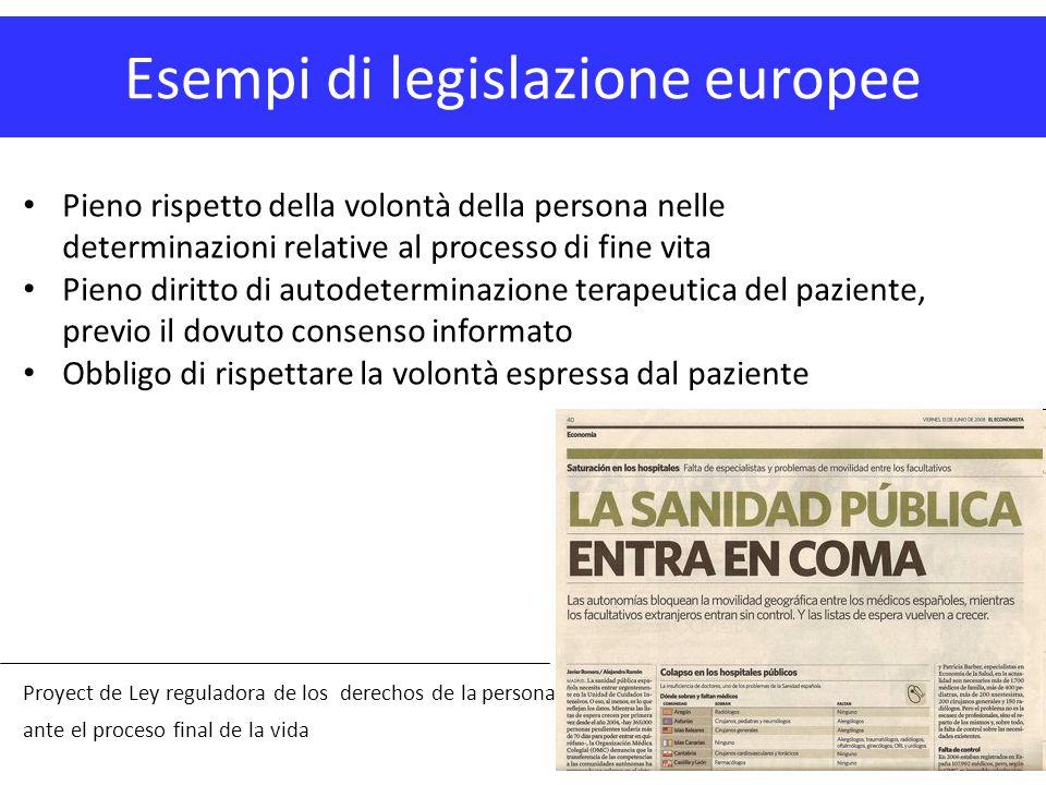 Esempi di legislazione europee Proyect de Ley reguladora de los derechos de la persona ante el proceso final de la vida Pieno rispetto della volontà d