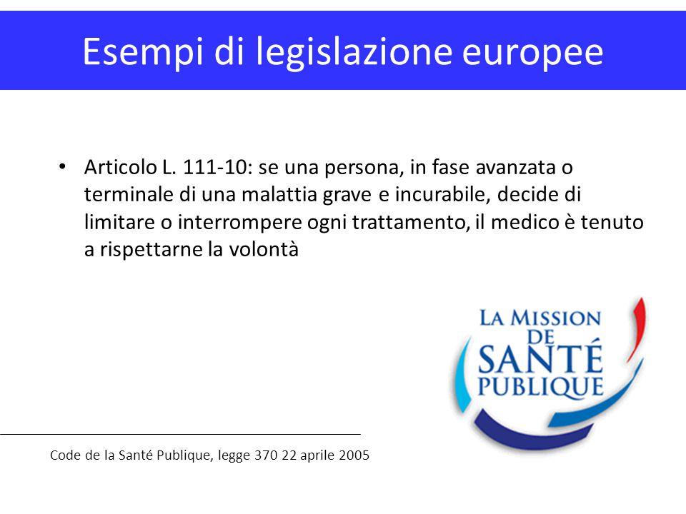 Esempi di legislazione europee Code de la Santé Publique, legge 370 22 aprile 2005 Articolo L. 111-10: se una persona, in fase avanzata o terminale di