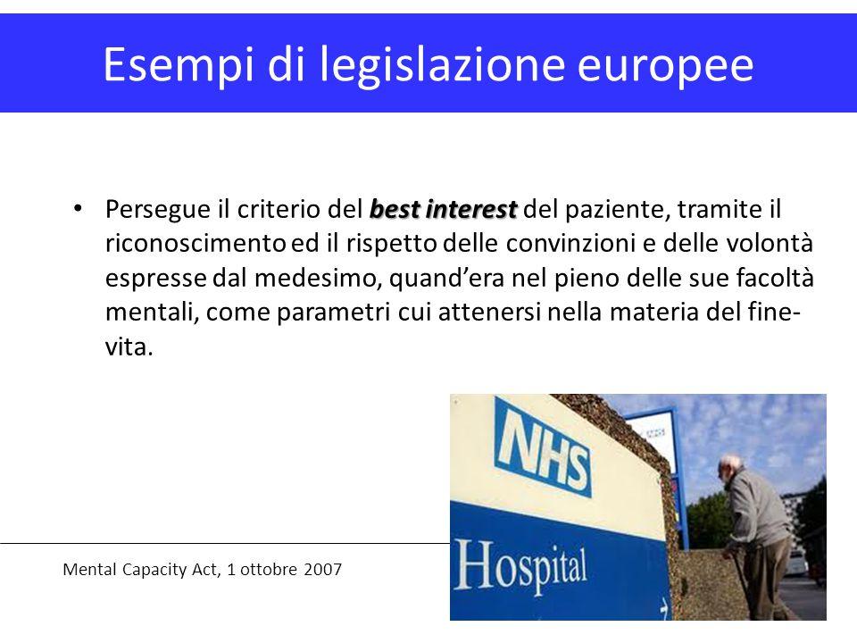Esempi di legislazione europee Mental Capacity Act, 1 ottobre 2007 best interest Persegue il criterio del best interest del paziente, tramite il ricon