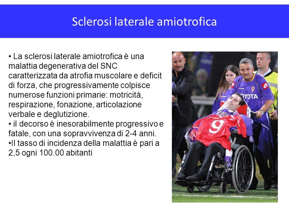 Sclerosi laterale amiotrofica La sclerosi laterale amiotrofica è una malattia degenerativa del SNC caratterizzata da atrofia muscolare e deficit di fo