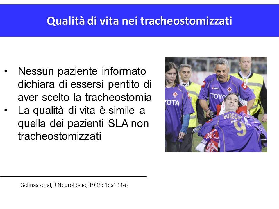 Qualità di vita nei tracheostomizzati Gelinas et al, J Neurol Scie; 1998: 1: s134-6 Nessun paziente informato dichiara di essersi pentito di aver scel