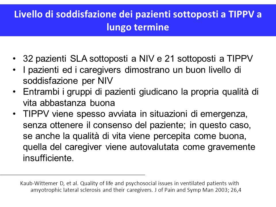 Livello di soddisfazione dei pazienti sottoposti a TIPPV a lungo termine Kaub-Wittemer D, et al. Quality of life and psychosocial issues in ventilated