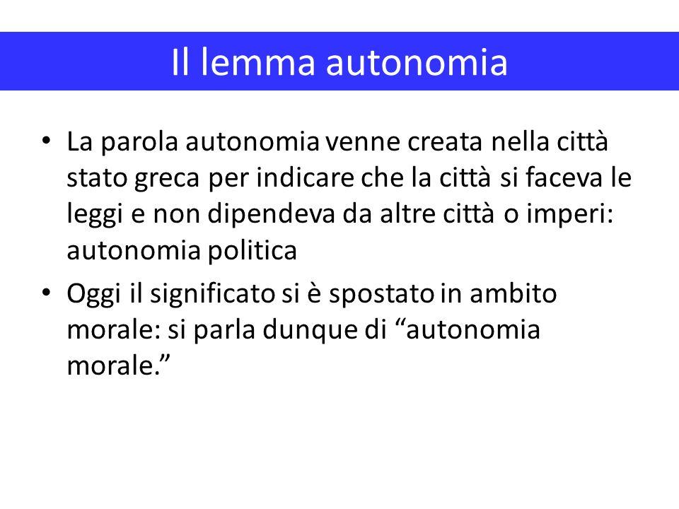 Il lemma autonomia La parola autonomia venne creata nella città stato greca per indicare che la città si faceva le leggi e non dipendeva da altre citt
