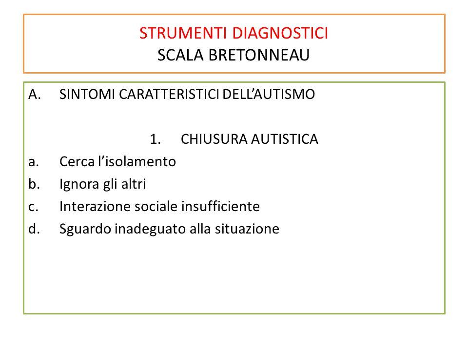 STRUMENTI DIAGNOSTICI SCALA BRETONNEAU A.SINTOMI CARATTERISTICI DELL'AUTISMO 1.CHIUSURA AUTISTICA a.Cerca l'isolamento b.Ignora gli altri c.Interazion