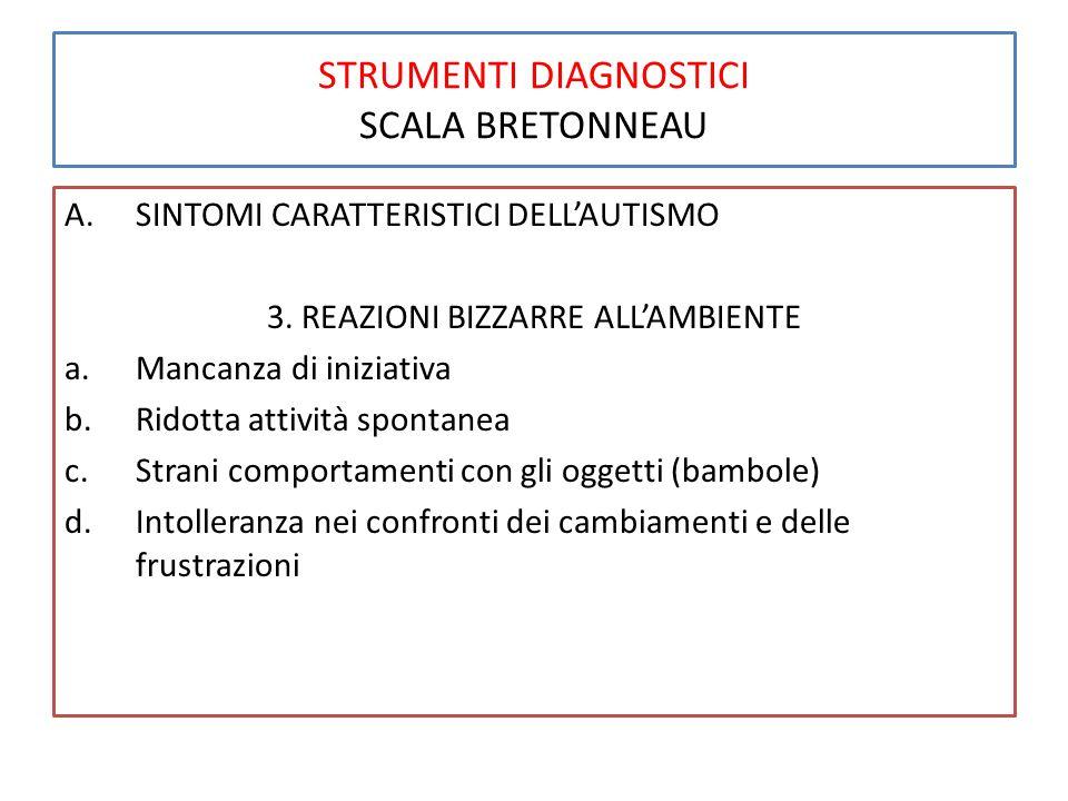 STRUMENTI DIAGNOSTICI SCALA BRETONNEAU A.SINTOMI CARATTERISTICI DELL'AUTISMO 3. REAZIONI BIZZARRE ALL'AMBIENTE a.Mancanza di iniziativa b.Ridotta atti