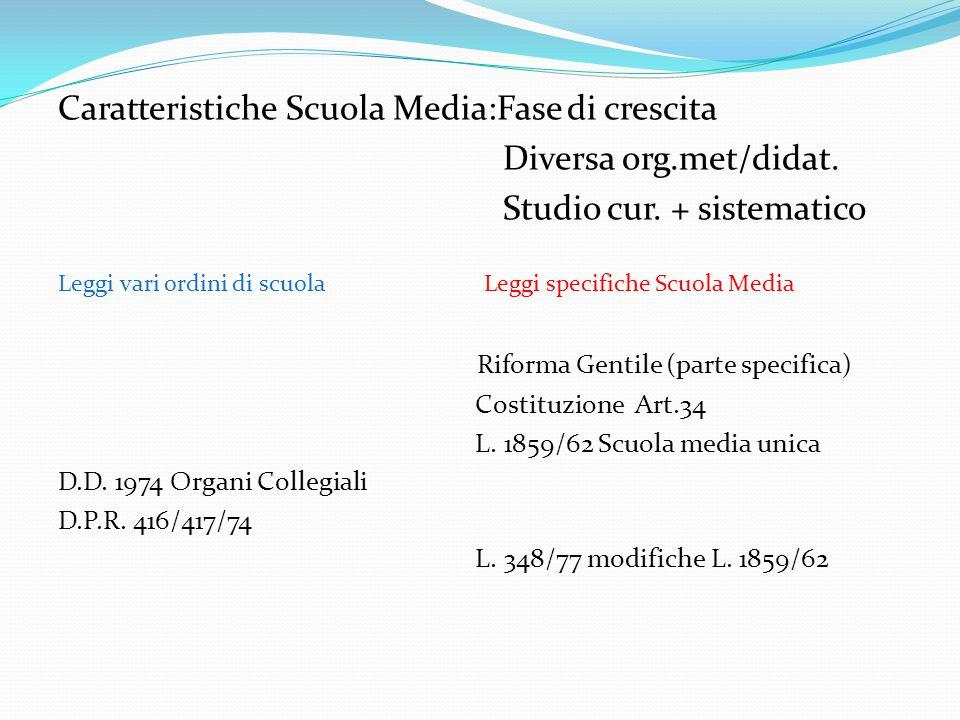 Caratteristiche Scuola Media:Fase di crescita Diversa org.met/didat.