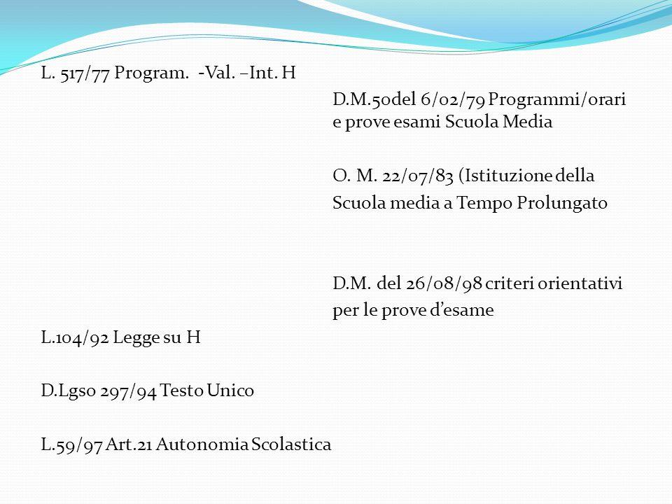 L. 517/77 Program. -Val. –Int. H D.M.50del 6/02/79 Programmi/orari e prove esami Scuola Media O. M. 22/07/83 (Istituzione della Scuola media a Tempo P