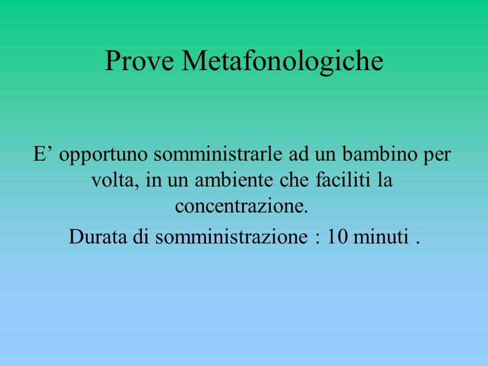 Prove Metafonologiche E' opportuno somministrarle ad un bambino per volta, in un ambiente che faciliti la concentrazione.