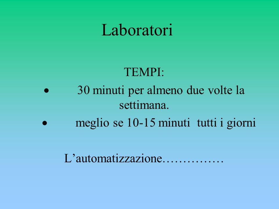 Laboratori TEMPI:  30 minuti per almeno due volte la settimana.
