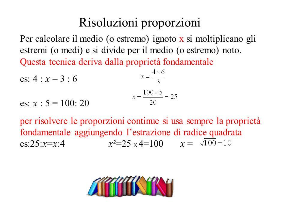 Risoluzioni proporzioni Per calcolare il medio (o estremo) ignoto x si moltiplicano gli estremi (o medi) e si divide per il medio (o estremo) noto. Qu