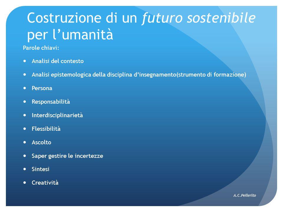 Costruzione di un futuro sostenibile per l'umanità Parole chiavi: Analisi del contesto Analisi epistemologica della disciplina d'insegnamento(strument