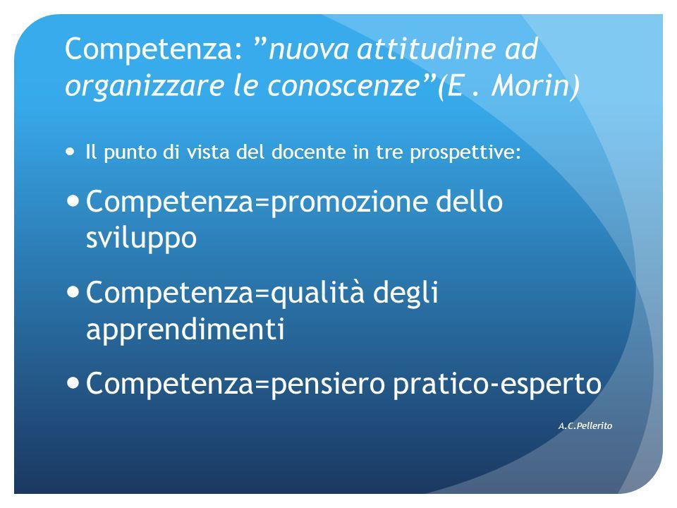 """Competenza: """"nuova attitudine ad organizzare le conoscenze""""(E. Morin) Il punto di vista del docente in tre prospettive: Competenza=promozione dello sv"""