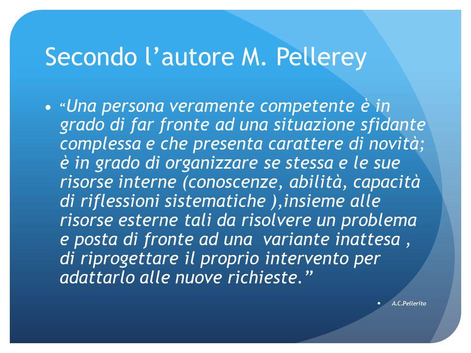 """Secondo l'autore M. Pellerey """" Una persona veramente competente è in grado di far fronte ad una situazione sfidante complessa e che presenta carattere"""