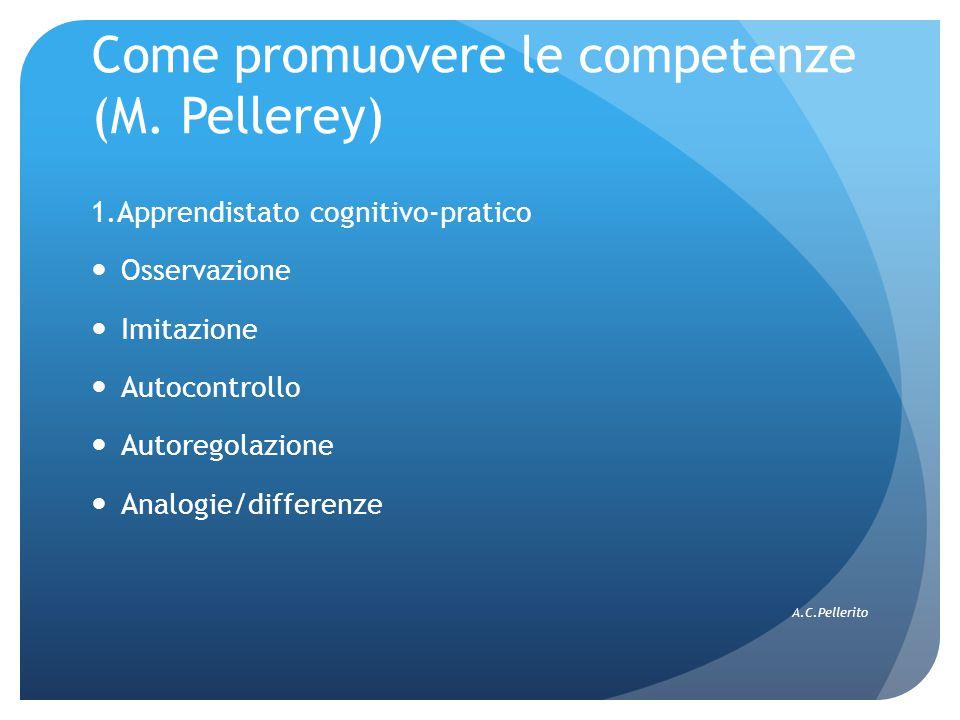 Come promuovere le competenze (M. Pellerey) 1.Apprendistato cognitivo-pratico Osservazione Imitazione Autocontrollo Autoregolazione Analogie/differenz