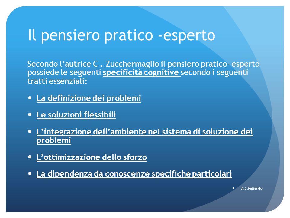 Il pensiero pratico -esperto Secondo l'autrice C. Zucchermaglio il pensiero pratico- esperto possiede le seguenti specificità cognitive secondo i segu