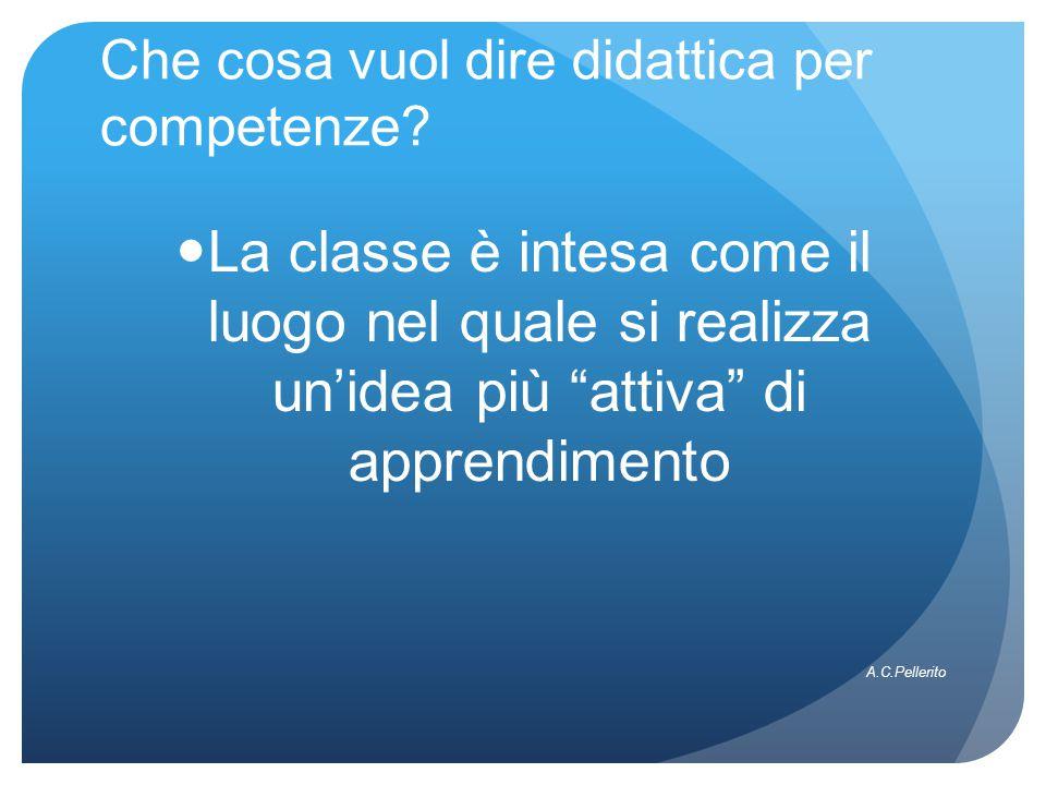 """Che cosa vuol dire didattica per competenze? La classe è intesa come il luogo nel quale si realizza un'idea più """"attiva"""" di apprendimento A.C.Pellerit"""
