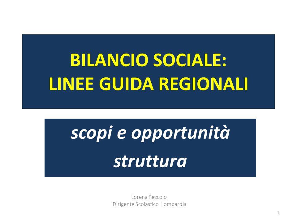 Lorena Peccolo Dirigente Scolastico Lombardia 1 BILANCIO SOCIALE: LINEE GUIDA REGIONALI scopi e opportunità struttura