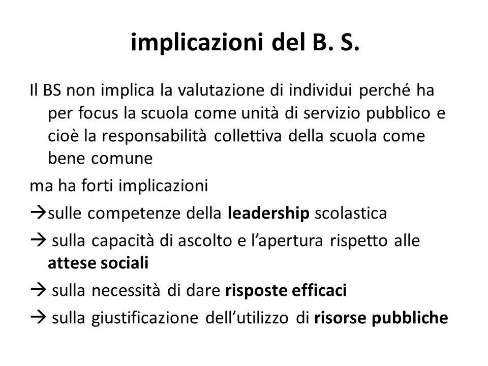 implicazioni del B. S. Il BS non implica la valutazione di individui perché ha per focus la scuola come unità di servizio pubblico e cioè la responsab
