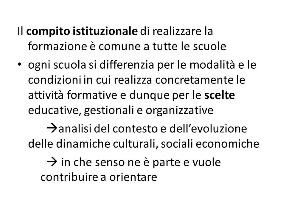 Il compito istituzionale di realizzare la formazione è comune a tutte le scuole ogni scuola si differenzia per le modalità e le condizioni in cui real