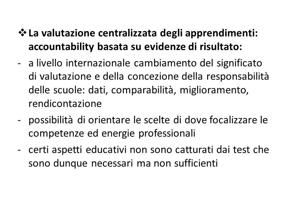 La valutazione centralizzata degli apprendimenti: accountability basata su evidenze di risultato: -a livello internazionale cambiamento del signific