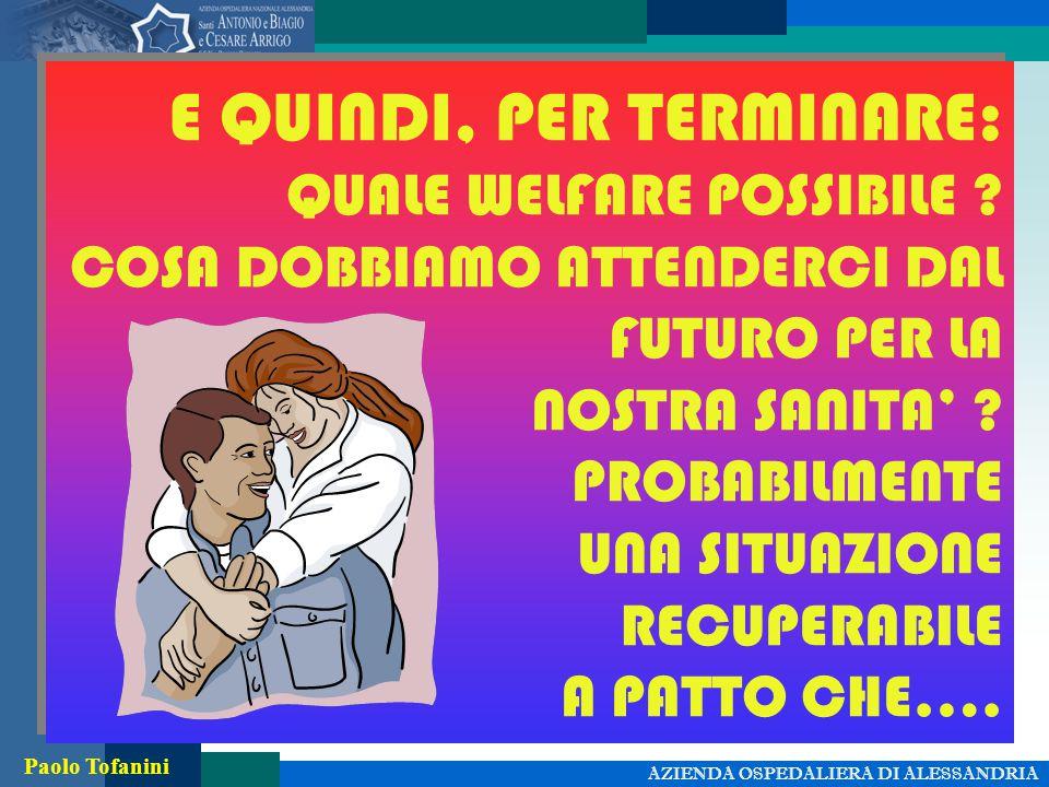 AZIENDA OSPEDALIERA DI ALESSANDRIA Paolo Tofanini E QUINDI, PER TERMINARE: QUALE WELFARE POSSIBILE .