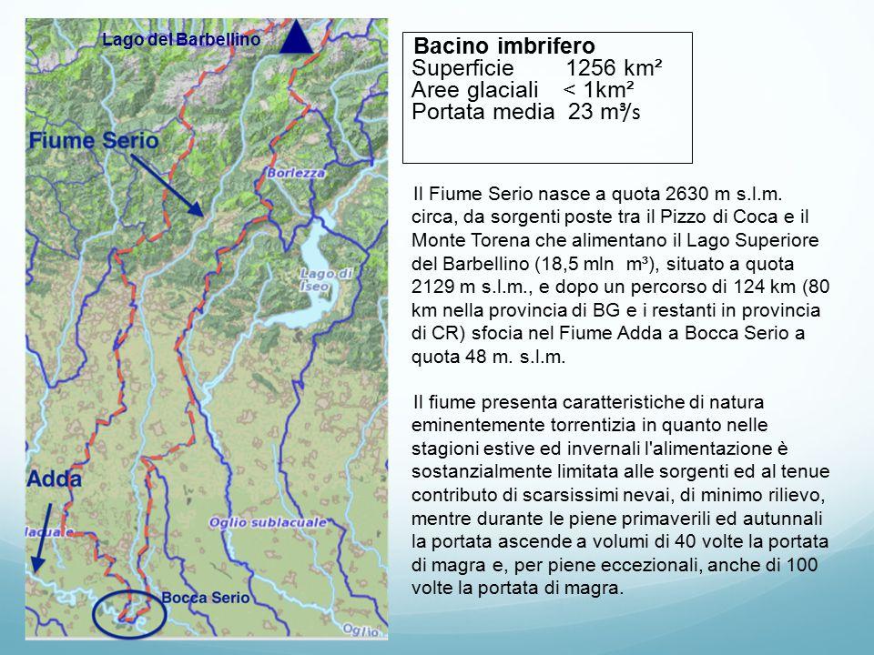 Bacino imbrifero Superficie 1256 km² Aree glaciali < 1km² Portata media 23 m ³/s Il Fiume Serio nasce a quota 2630 m s.l.m. circa, da sorgenti poste t
