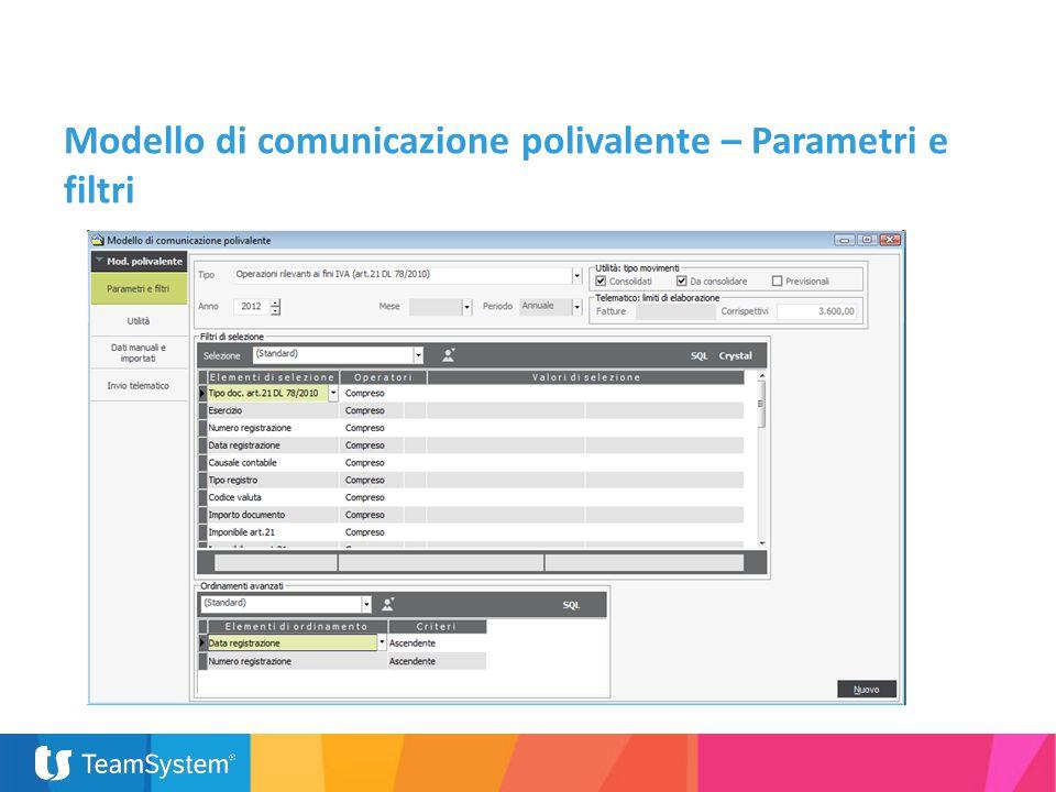 Modello di comunicazione polivalente – Parametri e filtri
