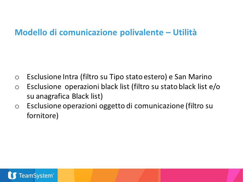 o Esclusione Intra (filtro su Tipo stato estero) e San Marino o Esclusione operazioni black list (filtro su stato black list e/o su anagrafica Black l
