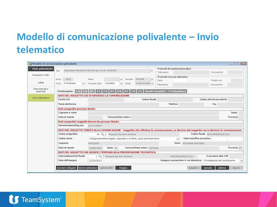 Modello di comunicazione polivalente – Invio telematico
