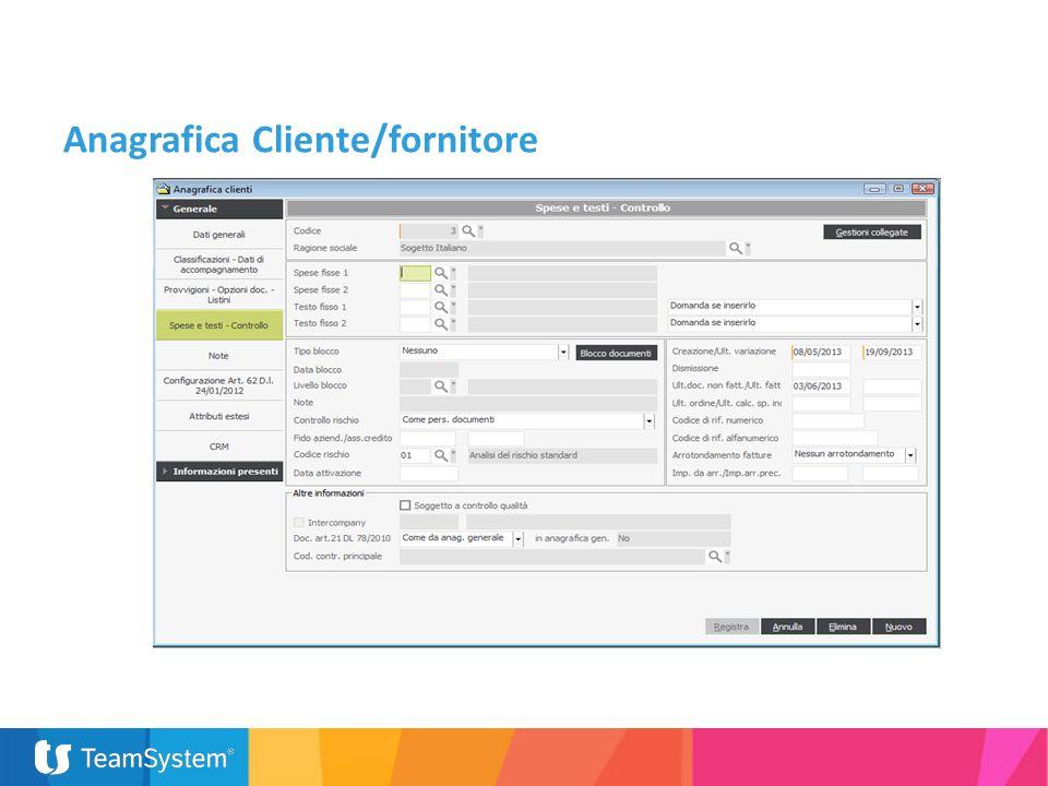 Anagrafica Cliente/fornitore