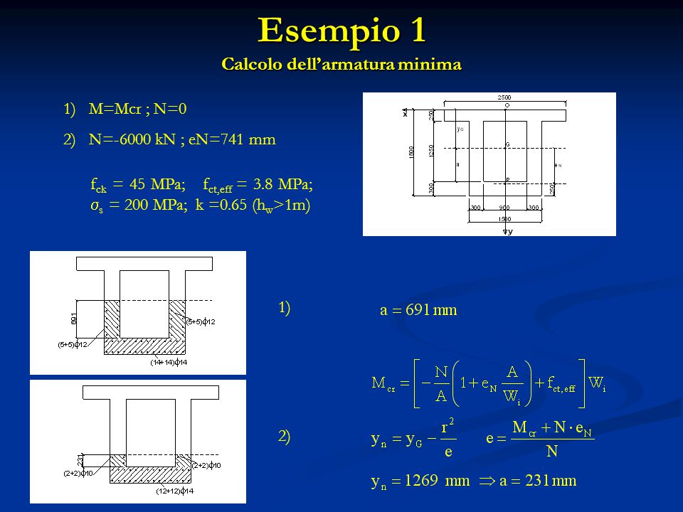 Esempio 1 Calcolo dell'armatura minima f ck = 45 MPa; f ct,eff = 3.8 MPa;  s = 200 MPa; k =0.65 (h w >1m) 1)M=Mcr ; N=0 2)N=-6000 kN ; eN=741 mm 1) 2