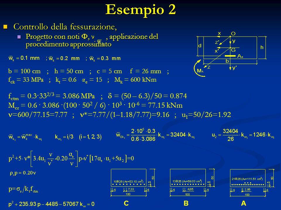 Esempio 2 Controllo della fessurazione, Controllo della fessurazione, Progetto con noti Φ, ν, applicazione del procedimento approssimato Progetto con