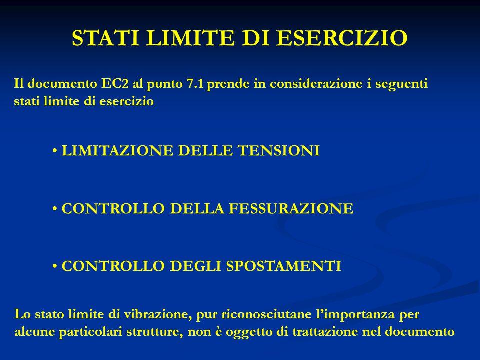 STATI LIMITE DI ESERCIZIO Il documento EC2 al punto 7.1 prende in considerazione i seguenti stati limite di esercizio LIMITAZIONE DELLE TENSIONI CONTR