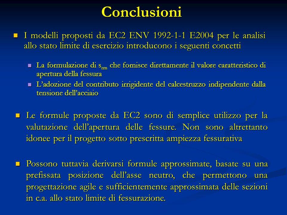 Conclusioni I modelli proposti da EC2 ENV 1992-1-1 E2004 per le analisi allo stato limite di esercizio introducono i seguenti concetti I modelli propo