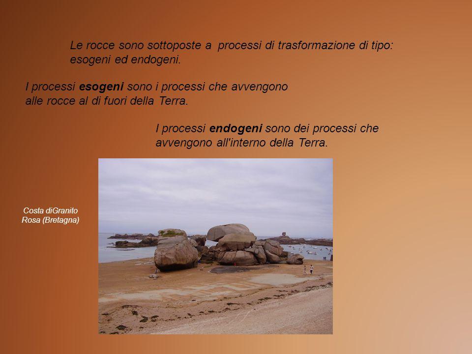 Le rocce sono sottoposte a processi di trasformazione di tipo: esogeni ed endogeni. I processi esogeni sono i processi che avvengono alle rocce al di