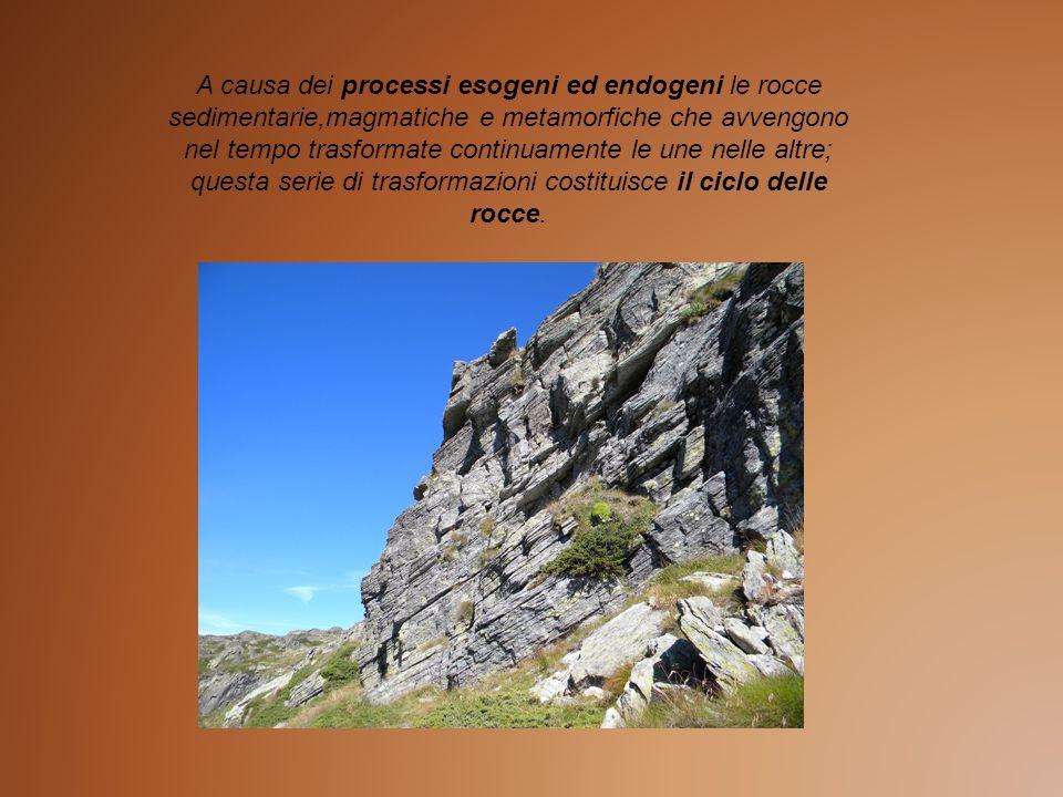 A causa dei processi esogeni ed endogeni le rocce sedimentarie,magmatiche e metamorfiche che avvengono nel tempo trasformate continuamente le une nelle altre; questa serie di trasformazioni costituisce il ciclo delle rocce.