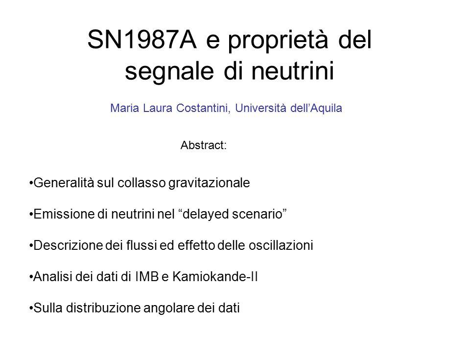 SN1987A e proprietà del segnale di neutrini Maria Laura Costantini, Università dell'Aquila Abstract: Generalità sul collasso gravitazionale Emissione di neutrini nel delayed scenario Descrizione dei flussi ed effetto delle oscillazioni Analisi dei dati di IMB e Kamiokande-II Sulla distribuzione angolare dei dati