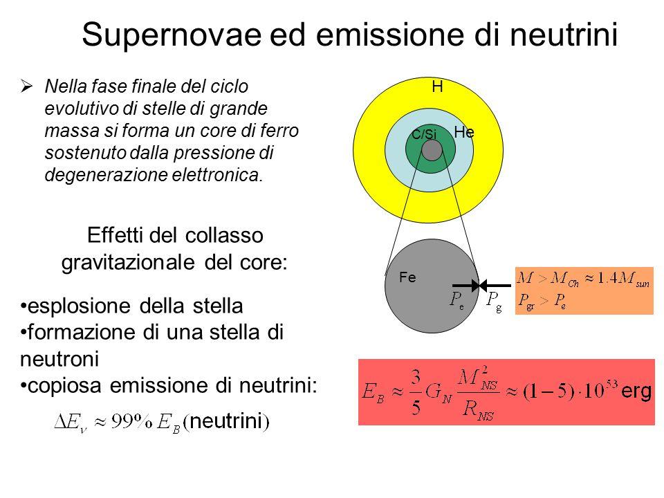 Supernovae ed emissione di neutrini  Nella fase finale del ciclo evolutivo di stelle di grande massa si forma un core di ferro sostenuto dalla pressione di degenerazione elettronica.
