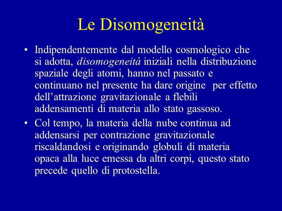 Le Disomogeneità Indipendentemente dal modello cosmologico che si adotta, disomogeneità iniziali nella distribuzione spaziale degli atomi, hanno nel passato e continuano nel presente ha dare origine per effetto dell'attrazione gravitazionale a flebili addensamenti di materia allo stato gassoso.