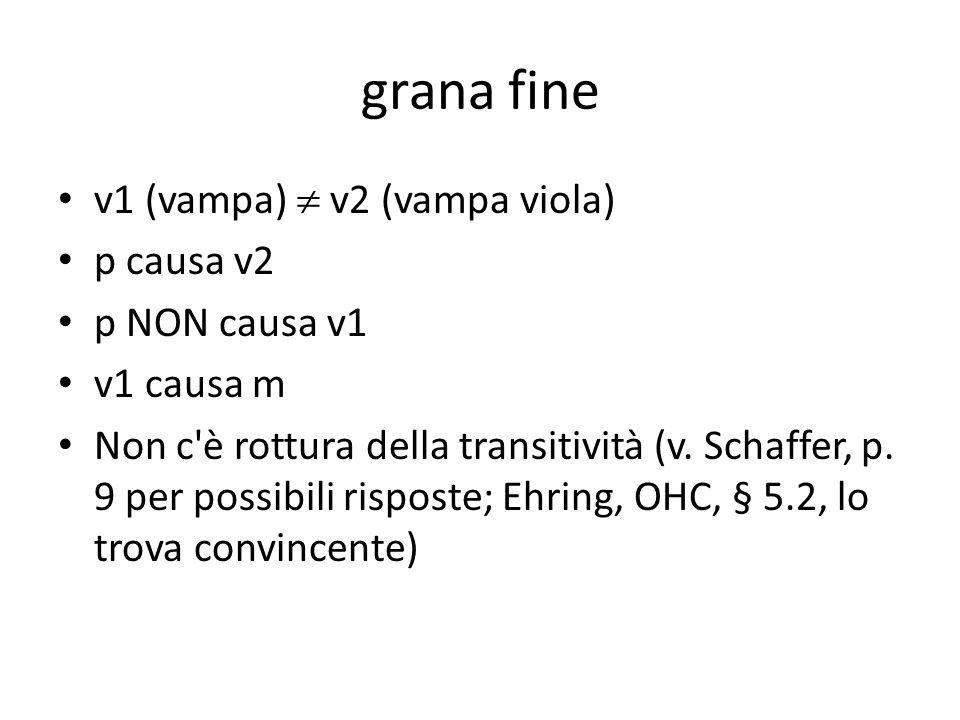 grana fine v1 (vampa)  v2 (vampa viola) p causa v2 p NON causa v1 v1 causa m Non c è rottura della transitività (v.