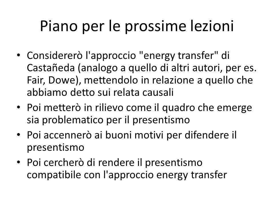 Piano per le prossime lezioni Considererò l approccio energy transfer di Castañeda (analogo a quello di altri autori, per es.