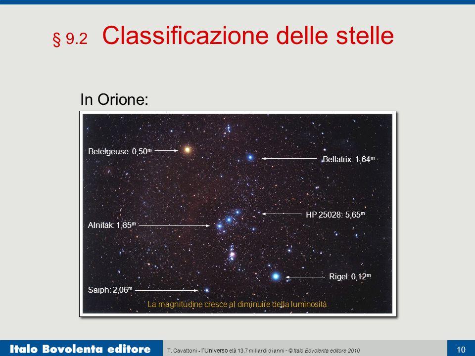 T. Cavattoni - l'Universo età 13,7 miliardi di anni - © Italo Bovolenta editore 2010 10 § 9.2 Classificazione delle stelle In Orione: Betelgeuse: 0,50