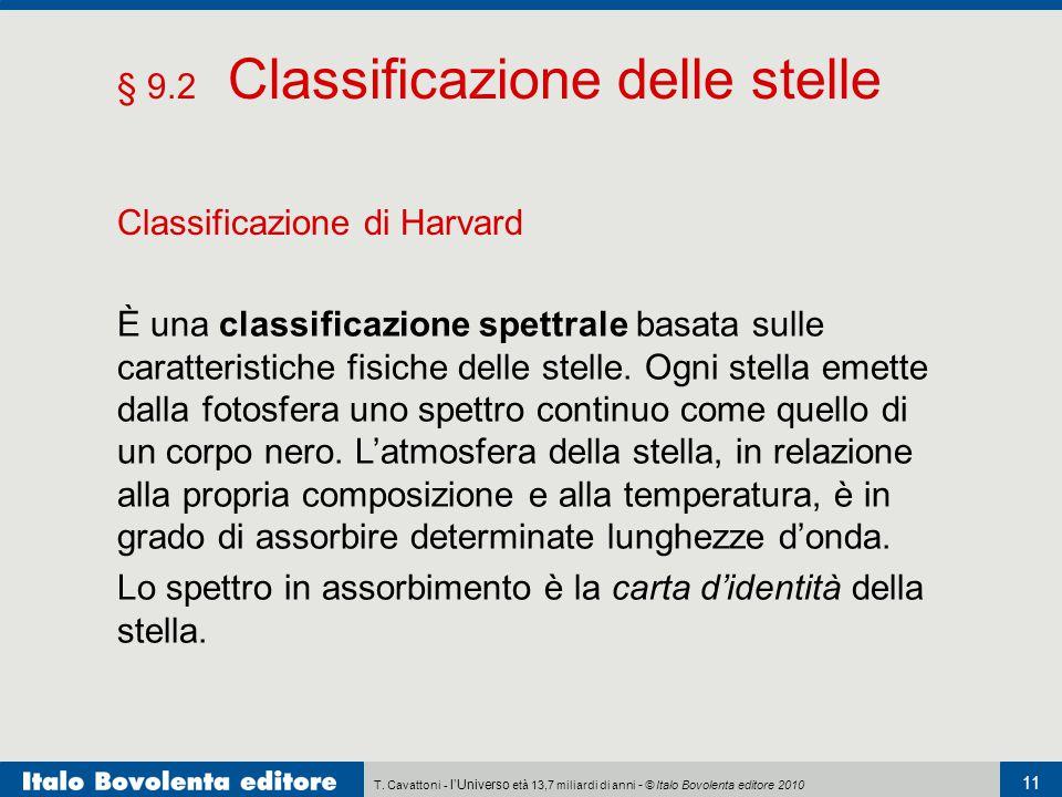T. Cavattoni - l'Universo età 13,7 miliardi di anni - © Italo Bovolenta editore 2010 11 § 9.2 Classificazione delle stelle Classificazione di Harvard