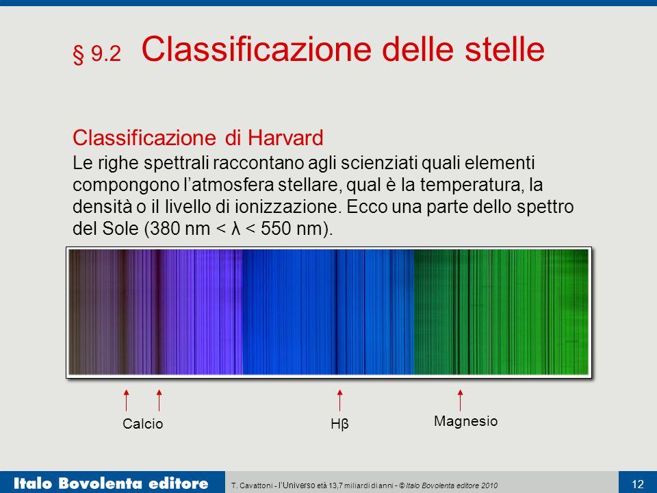 T. Cavattoni - l'Universo età 13,7 miliardi di anni - © Italo Bovolenta editore 2010 12 § 9.2 Classificazione delle stelle Classificazione di Harvard